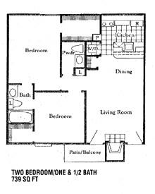 739 sq. ft. D floor plan