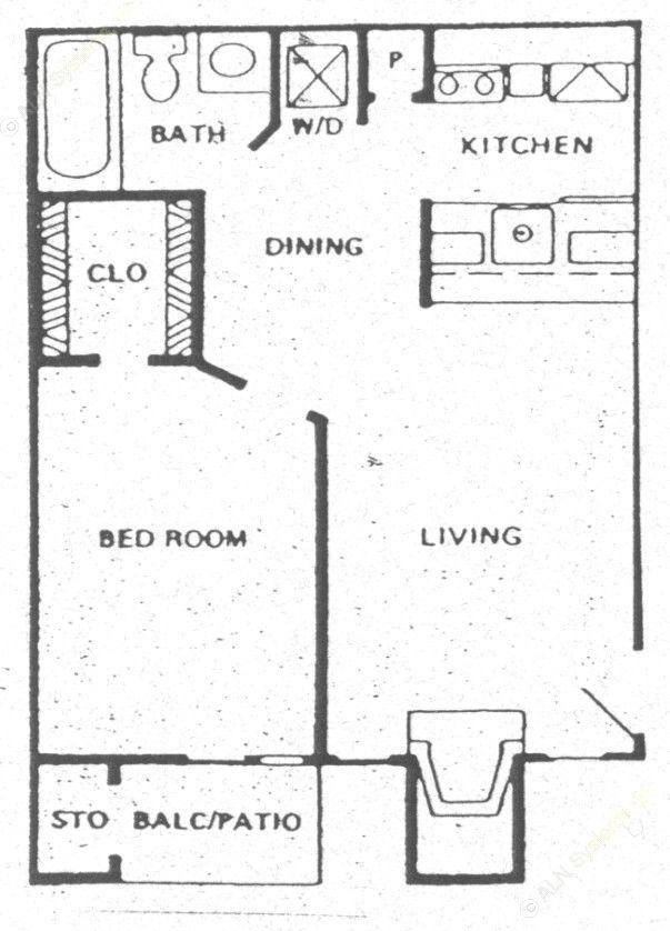 486 sq. ft. A1 floor plan