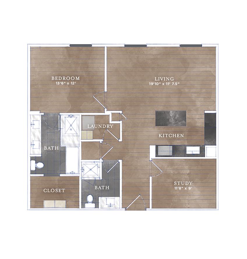 1,126 sq. ft. CS-8 floor plan