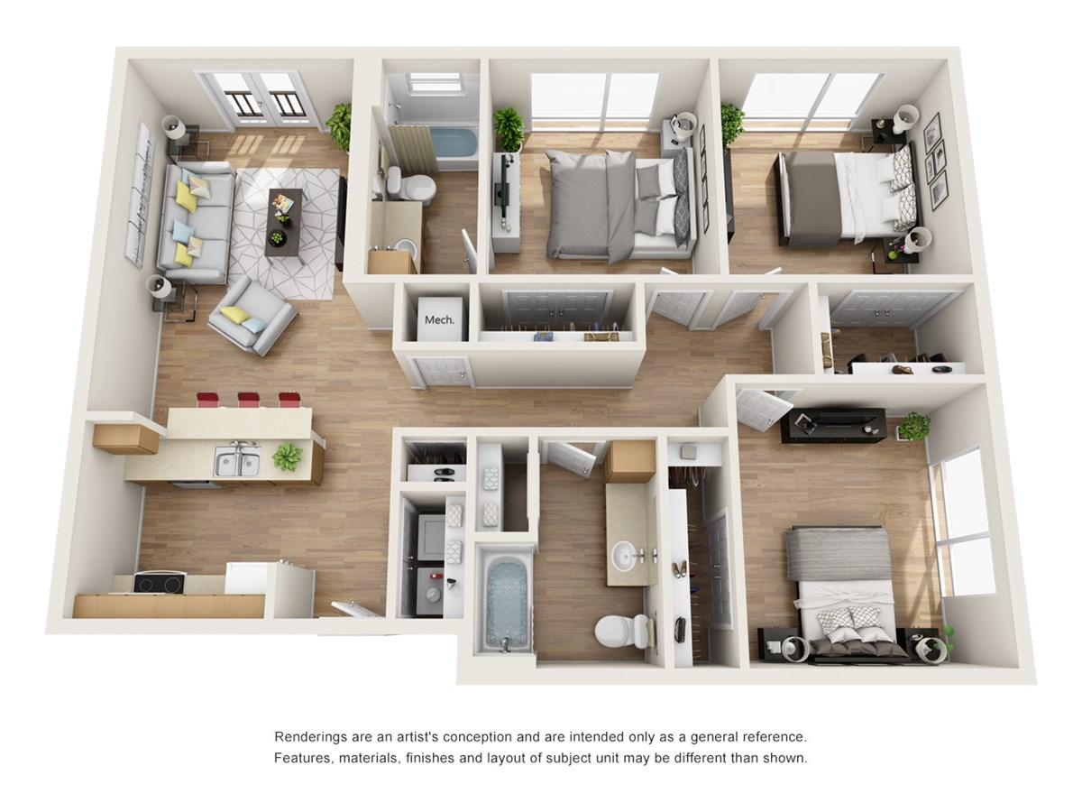 1,247 sq. ft. C2 floor plan