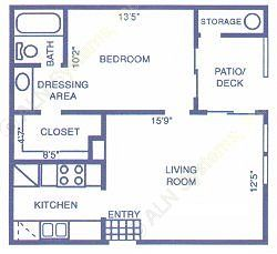 559 sq. ft. CEDAR floor plan