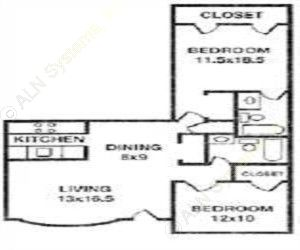 995 sq. ft. E floor plan