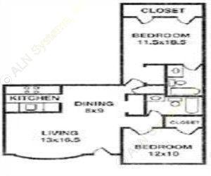995 sq. ft. LANCASTER floor plan