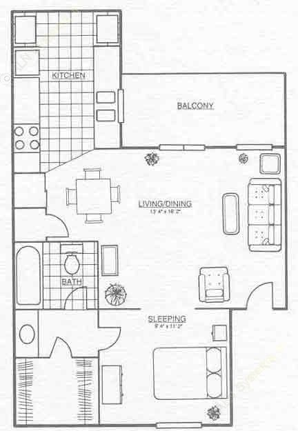 568 sq. ft. A1 floor plan