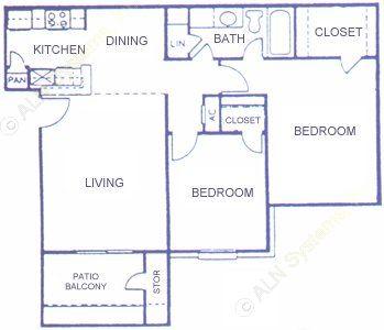 897 sq. ft. D floor plan