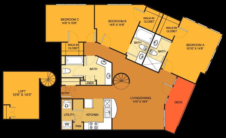 1,491 sq. ft. C1LOFT floor plan