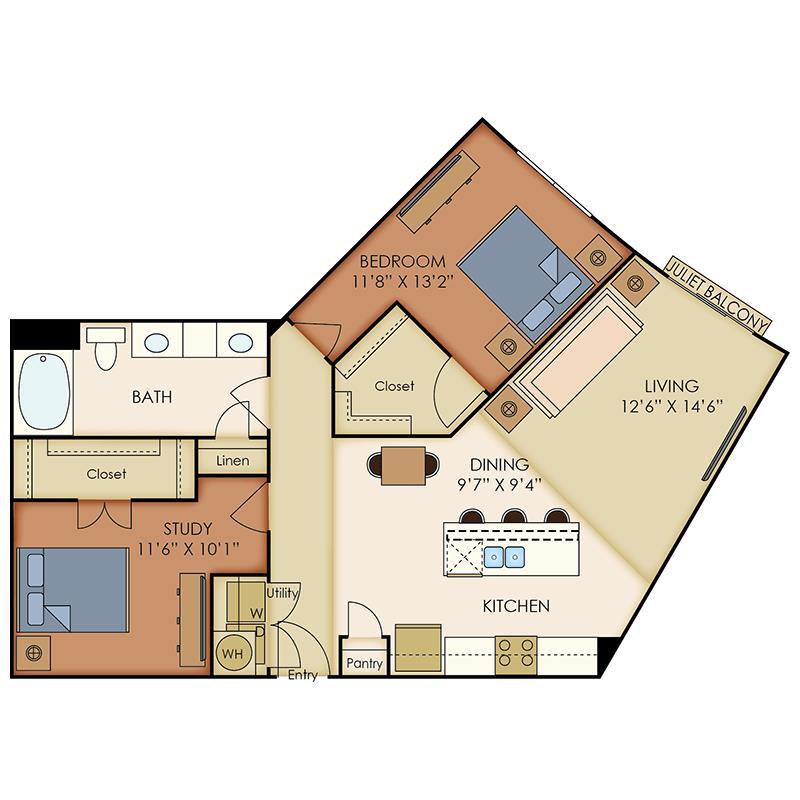 1,039 sq. ft. A10 floor plan