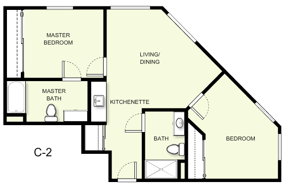 790 sq. ft. C2 floor plan