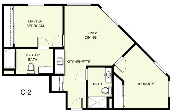 790 sq. ft. C2 floor plan