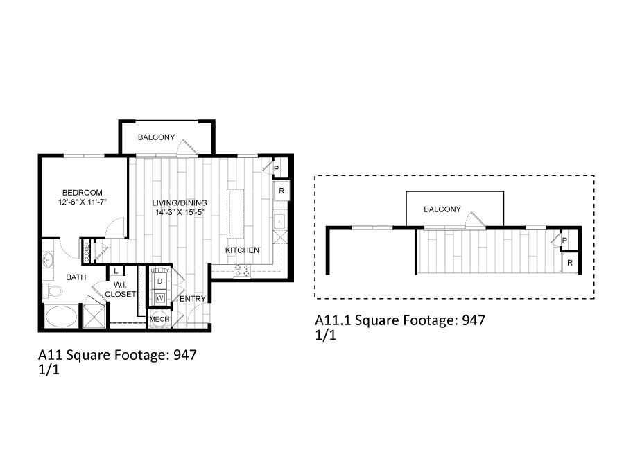 947 sq. ft. A11 floor plan