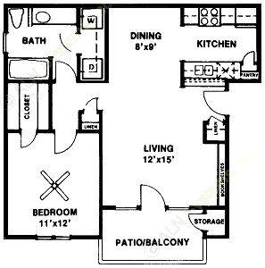 818 sq. ft. Ashton SR floor plan