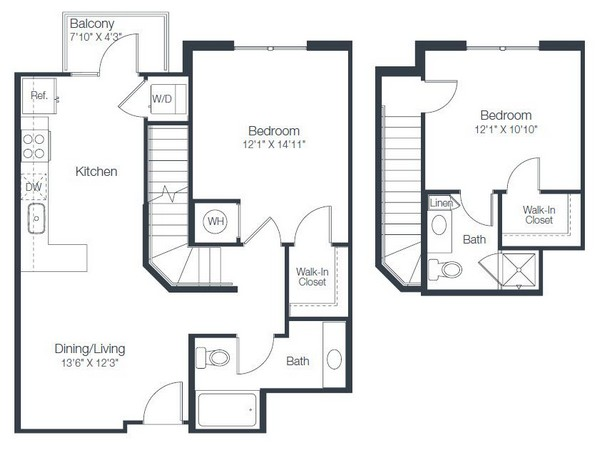 999 sq. ft. B1B floor plan