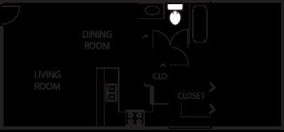 748 sq. ft. A4-50% floor plan