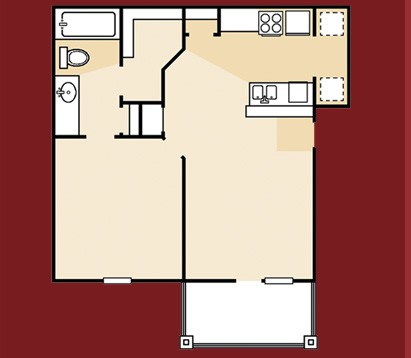 613 sq. ft. A1PA floor plan