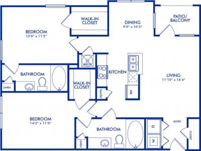 1,102 sq. ft. Bayland floor plan