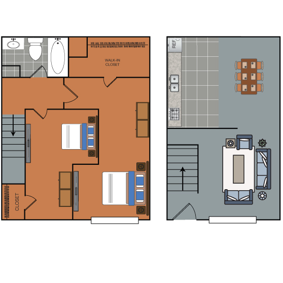 749 sq. ft. B1 floor plan