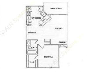604 sq. ft. A2 floor plan