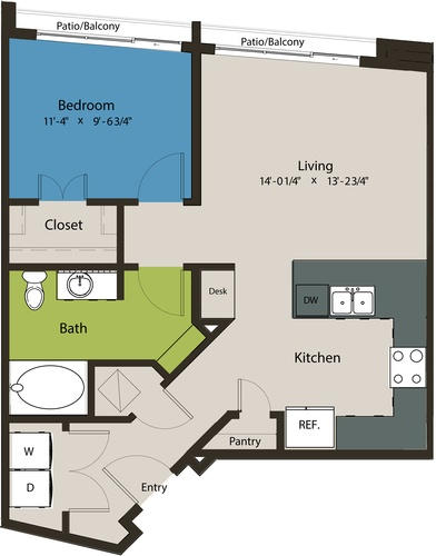 732 sq. ft. A3-A floor plan