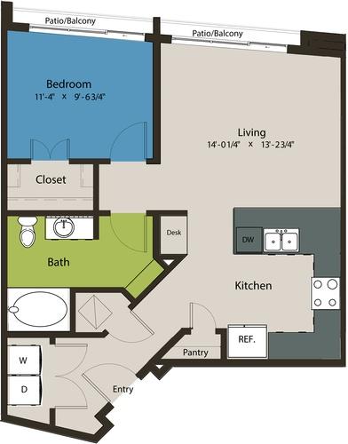 732 sq. ft. A3-A floor plan