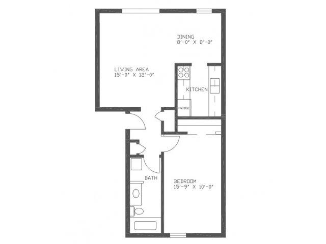 690 sq. ft. Spruce floor plan