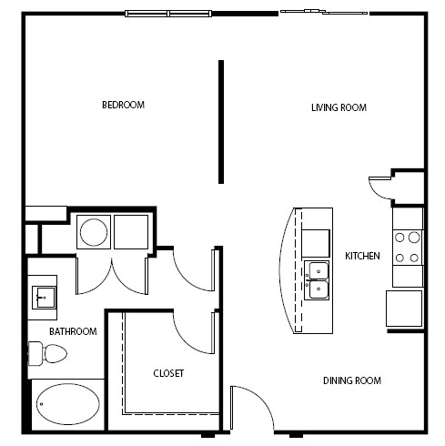 696 sq. ft. 3A0 floor plan