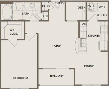 810 sq. ft. A4-HC Mkt floor plan