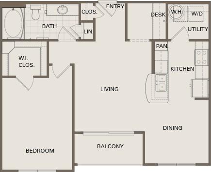 810 sq. ft. A4-HC floor plan