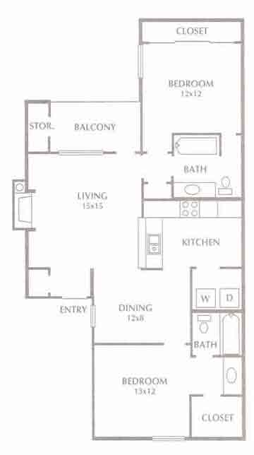 968 sq. ft. Dalton floor plan