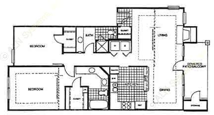 1,049 sq. ft. B3 floor plan