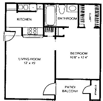500 sq. ft. A1 floor plan