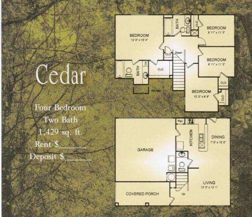 1,429 sq. ft. Cedar/30% floor plan
