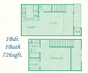 726 sq. ft. Abington floor plan