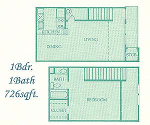 726 sq. ft. Abington floor plan