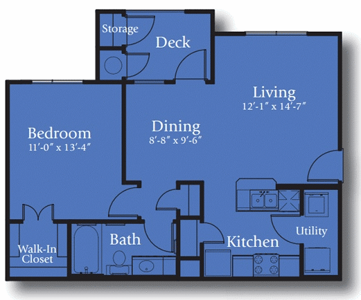 713 sq. ft. 60% floor plan