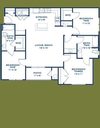 1,223 sq. ft. Blanco floor plan