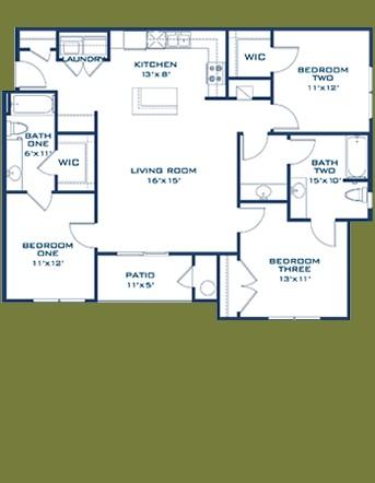 1,223 sq. ft. Blanco floor plan