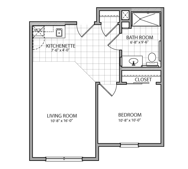 520 sq. ft. Toscana Assist. floor plan