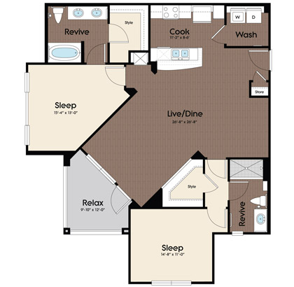 1,204 sq. ft. Azure floor plan