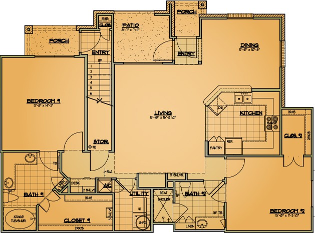 1,294 sq. ft. B3 floor plan