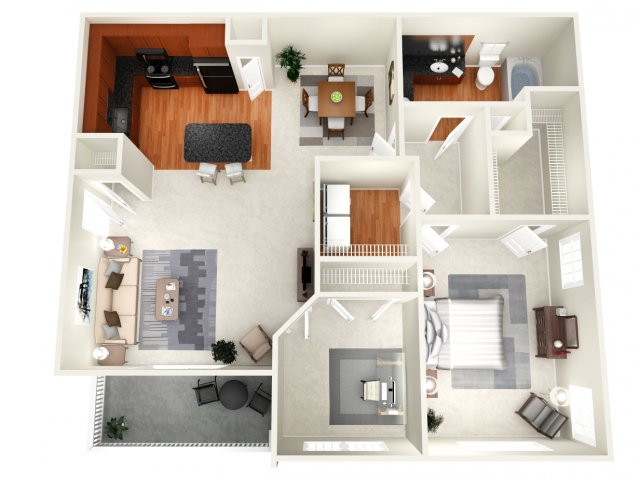946 sq. ft. C floor plan