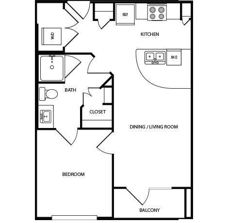 572 sq. ft. A2 floor plan
