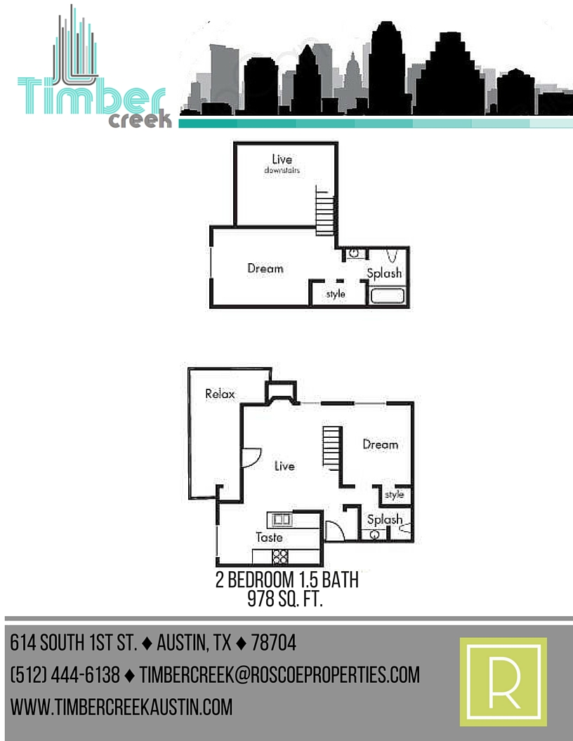 978 sq. ft. B7 floor plan