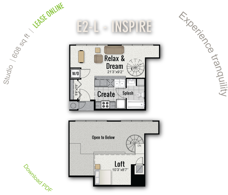 608 sq. ft. E2-L floor plan