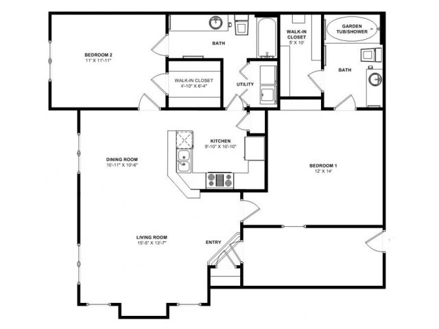 1,148 sq. ft. Cypress floor plan