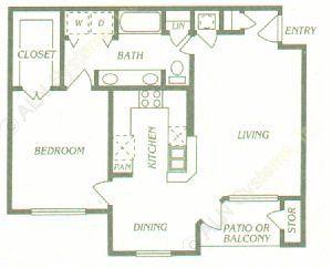 799 sq. ft. A3 floor plan
