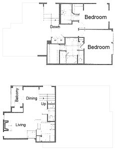 1,263 sq. ft. Townhome floor plan