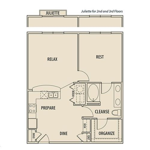 828 sq. ft. A2J P floor plan