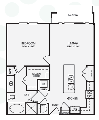 812 sq. ft. A9B floor plan