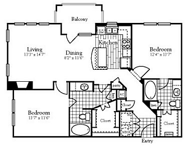 1,125 sq. ft. to 1,228 sq. ft. floor plan