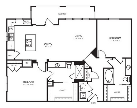 1,199 sq. ft. B2 floor plan